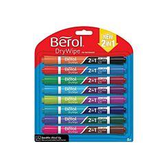 Berol Dry Eraser Pens Fine Chisel 2 in 1 Pack of 8 Assorted