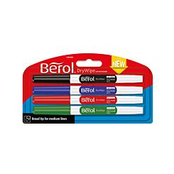 Berol Dry Eraser Pens Broad Chisel Pack of 4 Assorted