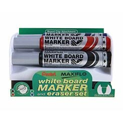 Pentel Maxiflo Marker Pens Whiteboard Pack of 4 with Eraser