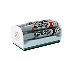 Pentel Maxiflo Whiteboard Marker Bullet Tip Pack of 4 Assorted with Magnetic Eraser
