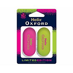Helix Oxford Eraser Twin Pack Pink / Lime