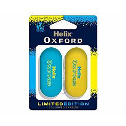 Helix Oxford Eraser Twin Pack Blue / Yellow