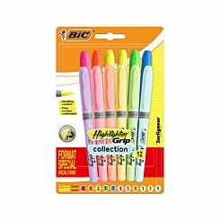BiC Highlighter Grip Pack of 12 Neon and Pastel
