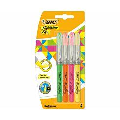 BiC Flex Brush Marking Highlighters Pack of 4