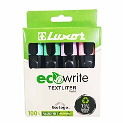 Luxor ecowrite Textliter Markers Pack of 4 Pastel
