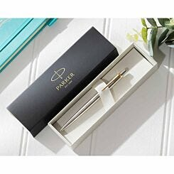 Personalised Parker Jotter Ballpoint Pen with Gift Box Gold Trim