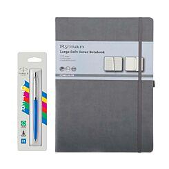 Parker Jotter Blue Ballpoint Pen and Ryman Large Grey Notebook Bundle