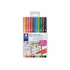 Staedtler Twin Tip Handwriting Pens Pack of 10 Assorted