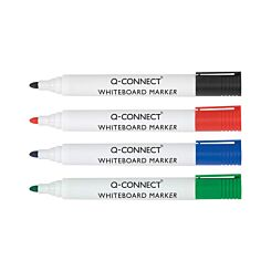 Q-Connect Dry Wipe Marker Fine Bullet Tip Pack of 4 Assorted