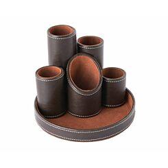 Osco 5 Tube Pen Pot Faux Leather