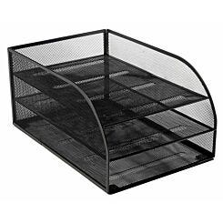 Osco Mesh Assembled 3 Tier Letter Tray Black