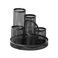 Osco Mesh 5 Tube Pen Pot Black