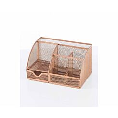 Osco Mesh Desk Organiser Rose Gold