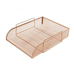 Osco Mesh Stacking Letter Tray Portrait Rose Gold