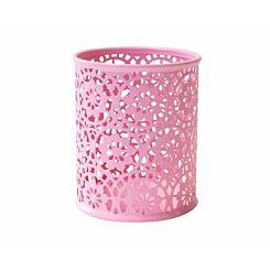 Ryman Floral Metal Pen Pot Pastel Pink