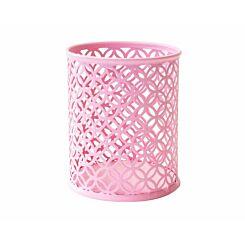 Ryman Geometric Metal Pen Pot Pastel Pink