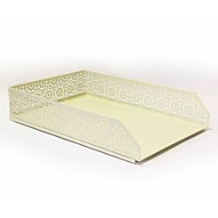 Ryman Floral Metal Letter Tray A4 Pastel Yellow