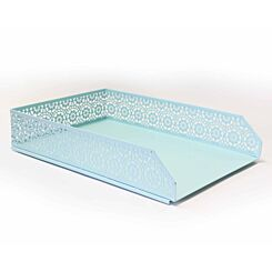 Ryman Floral Metal Letter Tray A4 Pastel Blue