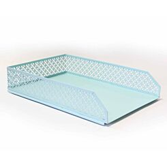 Ryman Geometric Metal Letter Tray A4 Pastel Blue