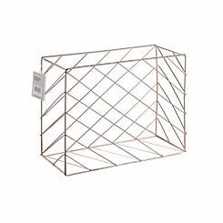 Ryman Metal Desk Storage Basket Rose Gold
