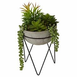 Interiors by PH Faux Mixed Succulents with Metal Stand
