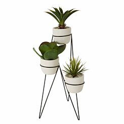 Interiors by PH Floor Stand with 3 Faux Succulents