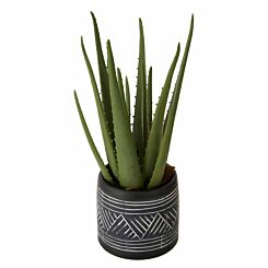 Interiors by PH Faux Aloe Vera in Cement Pot