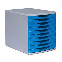 Deflecto 10 Drawer Stackable Tower Blue