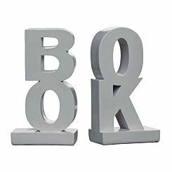 Premier Housewares Set of 2 Bookends Book Design Grey