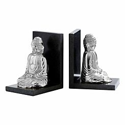 Premier Housewares Set of 2 Bookends Marble Buddha