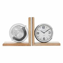 Premier Housewares Set of 2 Bookends Globe and Clock