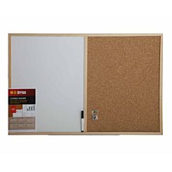 Bi-Office Cork and Dry Wipe Combination Notice Board with Pen 900x600mm