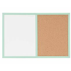 Dry Wipe Cork and Magnetic Combo Board Pastel Frame 600x400mm Green