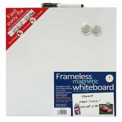 Frameless Blank Magnetic Whiteboard 355mm x 355mm