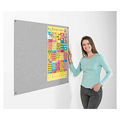 Metroplan Eco-Colour Frameless Flame Resistant Noticeboard 600 x 900mm Grey