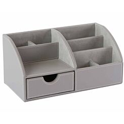 Osco Desk Organiser Grey Faux Leather