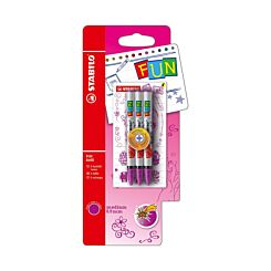 STABILO Fun Refill 3 Pack Plus 2 Concept Stickers Blue