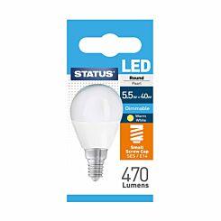 STATUS 5.5W/40W LED Round Light Bulb SES/E14