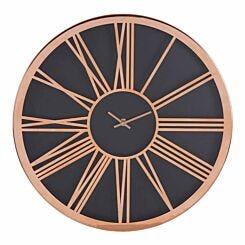 Premier Housewares Baillie Wall Clock 40cm Black/Rose Gold