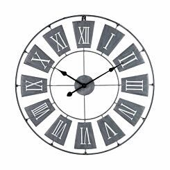 Premier Housewares Metal Wall Clock 70cm Grey