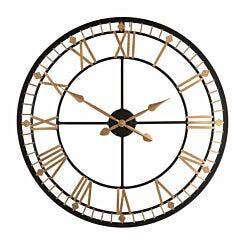 Premier Housewares Metal Wall Clock 80cm Black and Gold