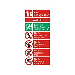 PVC Sign Fire Extinguisher Water 100x200mm