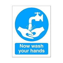 PVC Sign Now Wash Hands 150x200mm