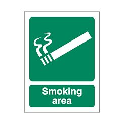 Foam PVC Sign Smoking Area 300x400mm