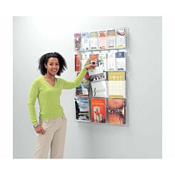 Metroplan All Clear Wall Mounted Leaflet Dispenser 6 x DL Tri-fold and 3 x A4