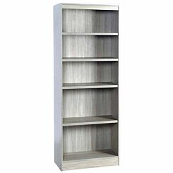 R White Tall Bookcase 600mm Wide Grey Nebraska