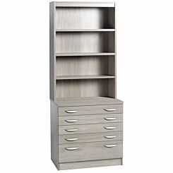R White Professional 5 Drawer A2 Plan Chest with Overshelving Grey Nebraska