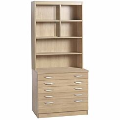 R White Professional 5 Drawer A2 Plan Chest with Overshelving Sandstone