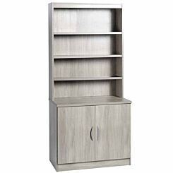 R White Desk Height Cupboard 85cm with Overshelving Grey Nebraska