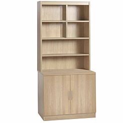 R White Desk Height Cupboard 85cm with Overshelving Sandstone